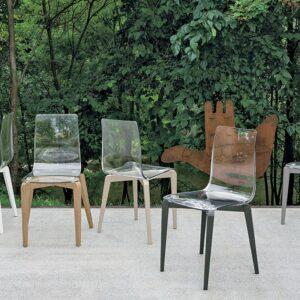 sedia polipropilene trasparente e legno target point