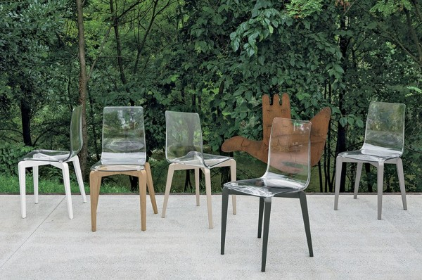 vendita Sedia polipropilene trasparente e legno target point